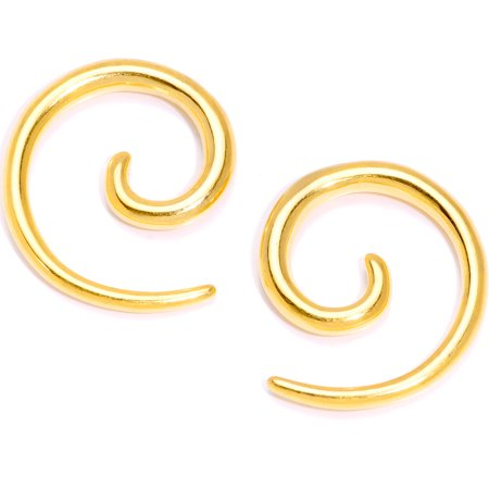 Body Candy Gold Tone Anodized Titanium Steel Micro Spiral Taper Set of 2 8