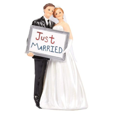 Wedding Cake Toppers - Bride Groom Cake Topper Figurines Holding Just Married Board - Fun Cake Topper For Wedding, Decorations, And Gifts - 3.3 X 5.8 X 2.25 Inches
