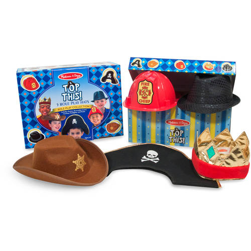 Melissa & Doug Top This! Dress-Up Hats Role Play Costume Collection 5, Including Cowboy, Pirate by Generic