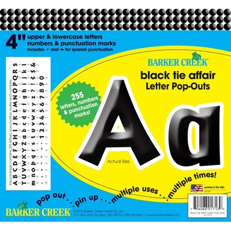 4 poster letters bulletin board letter pop outs black tie affair