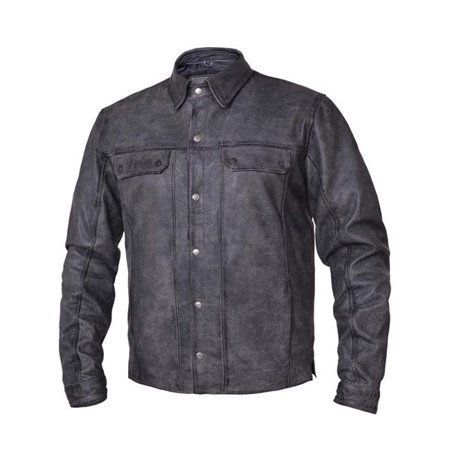 Mens Premium Lightweight Leather Motorcycle Shirt, Gray - Medium Men Gray Leather