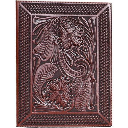 3d Western Pad Holder Leather Hand Tooled Fl Basketweave P10