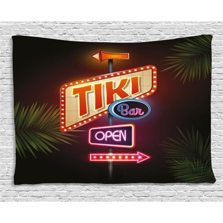 Tiki Bar Decor Tapestry, Old Fashioned Neon Signs Illustration Open Bar Palm Tree Branches Roadside, Wall Hanging for Bedroom Living Room Dorm Decor, 80W X 60L Inches, Multicolor, by Ambesonne (Tiki Bar Neon)