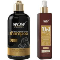 WOW Activated Charcoal & Keratin Shampoo 500ml & Hair Oil 100ml