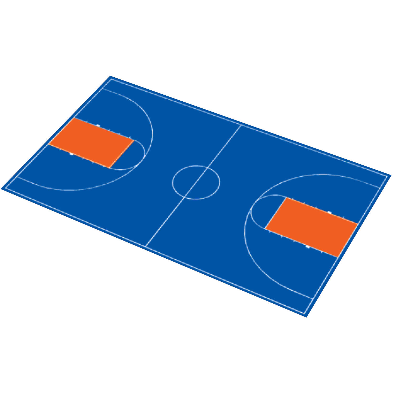 "DuraPlay 51' x 83'11"" Royal Blue and Orange Full Court Basketball Kit"