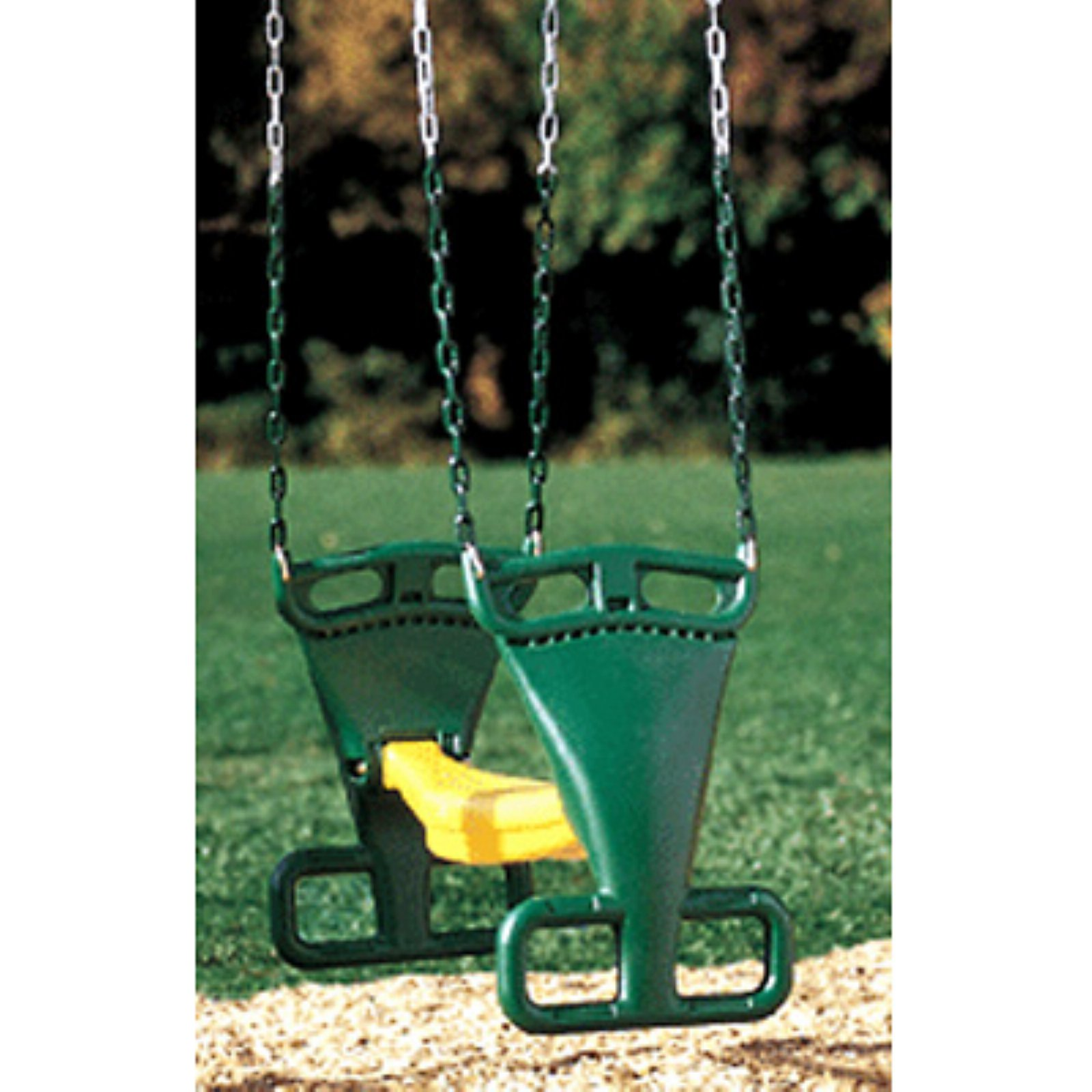 Kidwise Molded Back to Back Glider with Chains- Green/Yellow