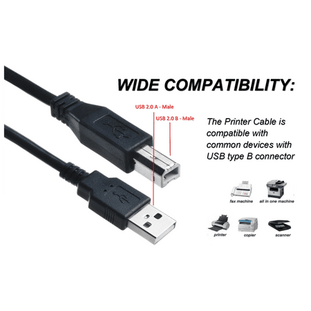 ABLEGRID 6ft USB Cable PC Laptop Data Sync / Transfer Cord For FD Fantom Drives TFD500U16 Titanium II USB 2.0 External Hard Disk Drive HDD HD(with Ferrite Core)