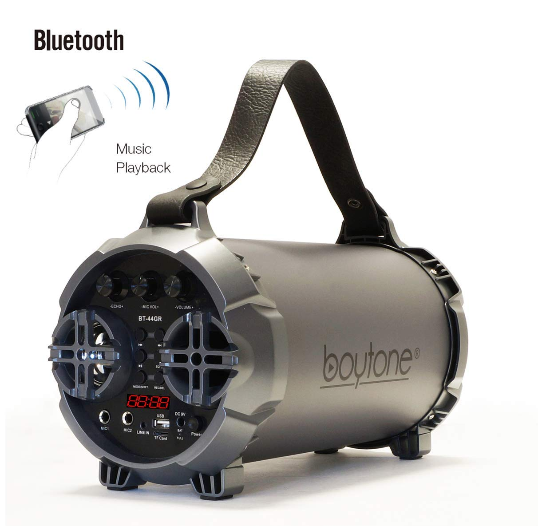 Boytone BT-44GR Portable Bluetooth Indoor/Outdoor 2.1 Hi-Fi Cylinder Loud Speaker - Matte Gray