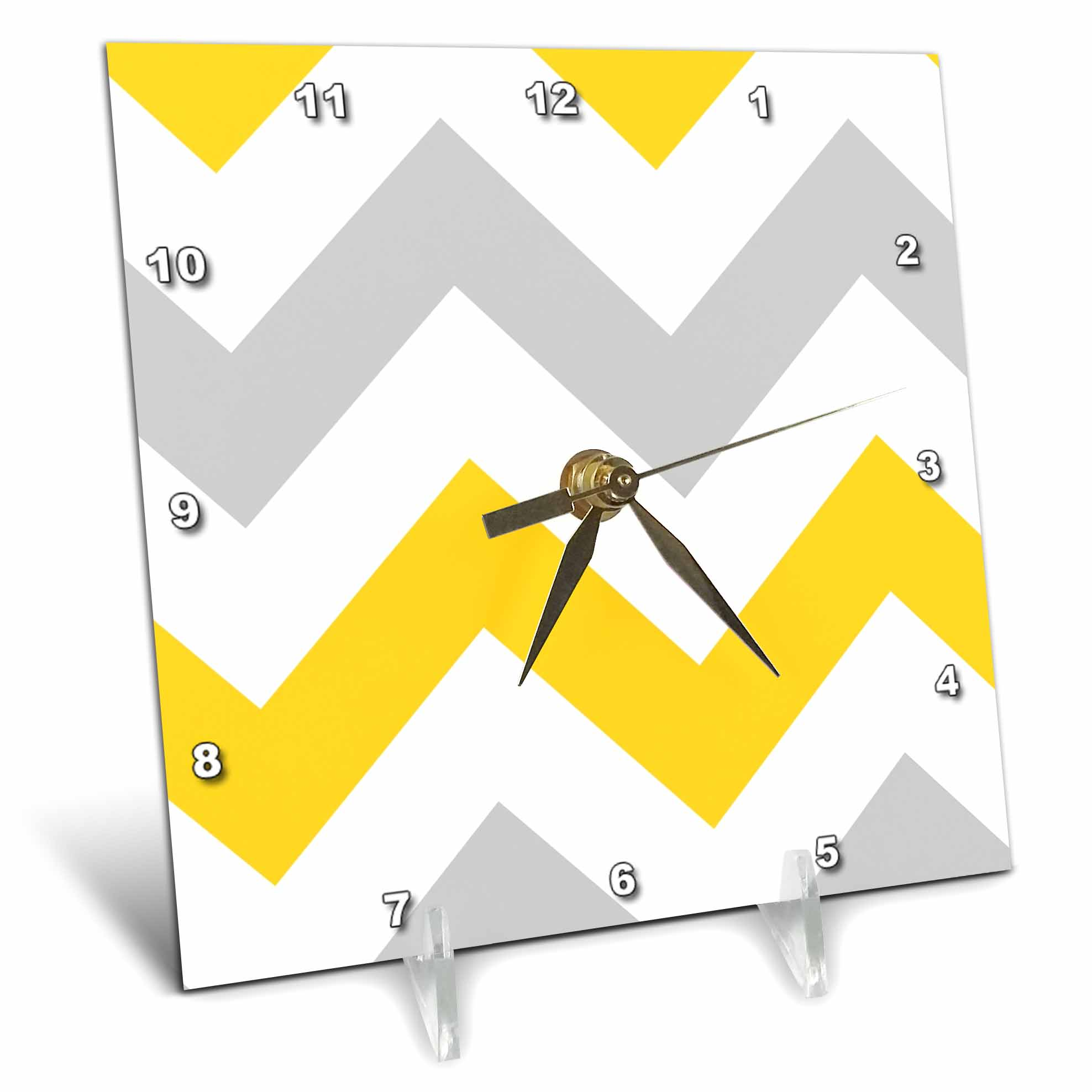 3dRose Big Yellow and Gray Chevron zig zag pattern grey white zigzag stripes, Desk Clock, 6 by 6-inch by 3dRose