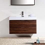 "KubeBath Bliss 40"" High Gloss Gray Oak Wall Mount Single Sink Modern Bathroom Vanity"