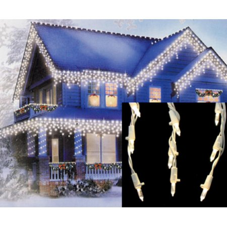 set of 105 warm white led cascading mini icicle christmas lights white wire