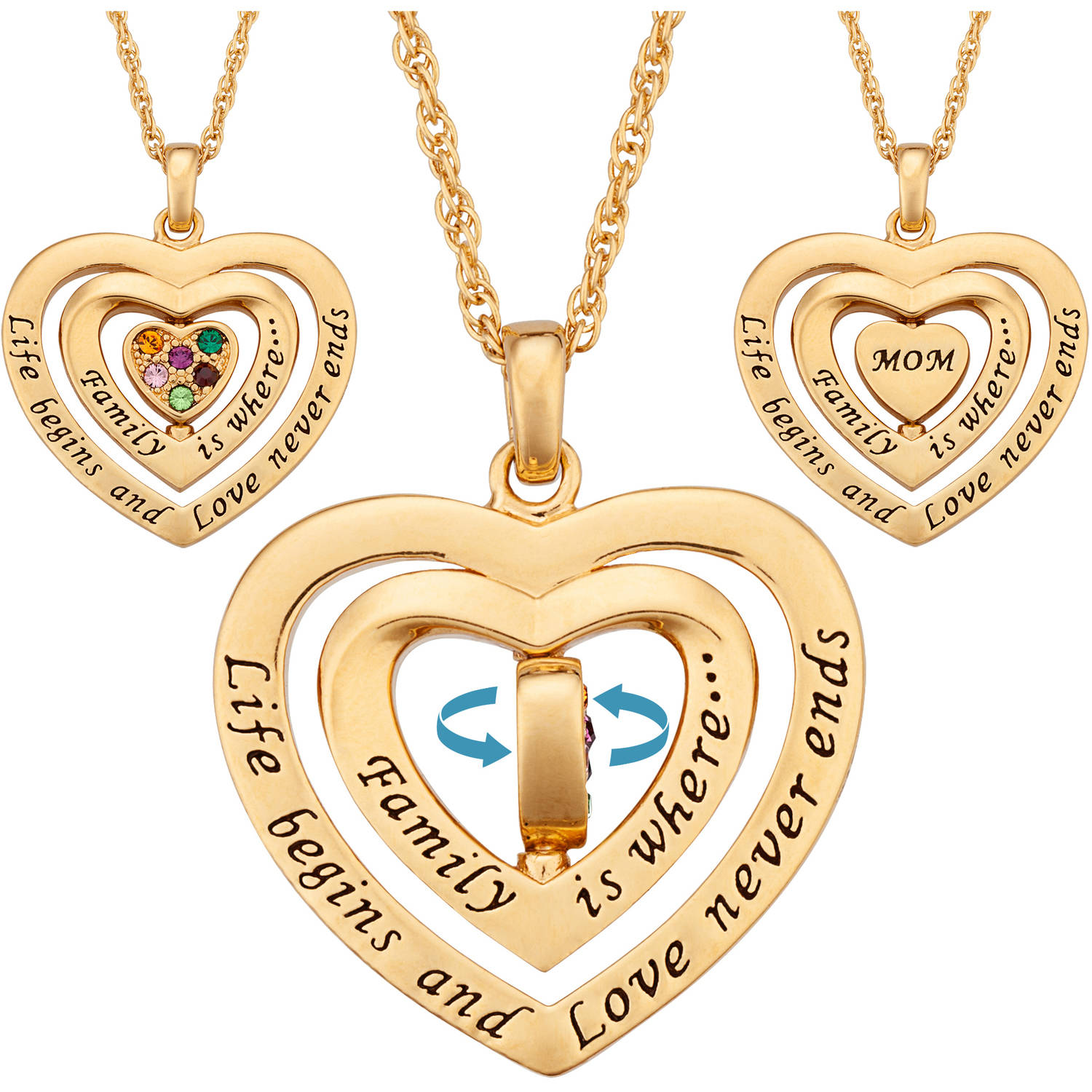 Personalized Mom Birthstone Swivel Heart Gold-Tone Pendant