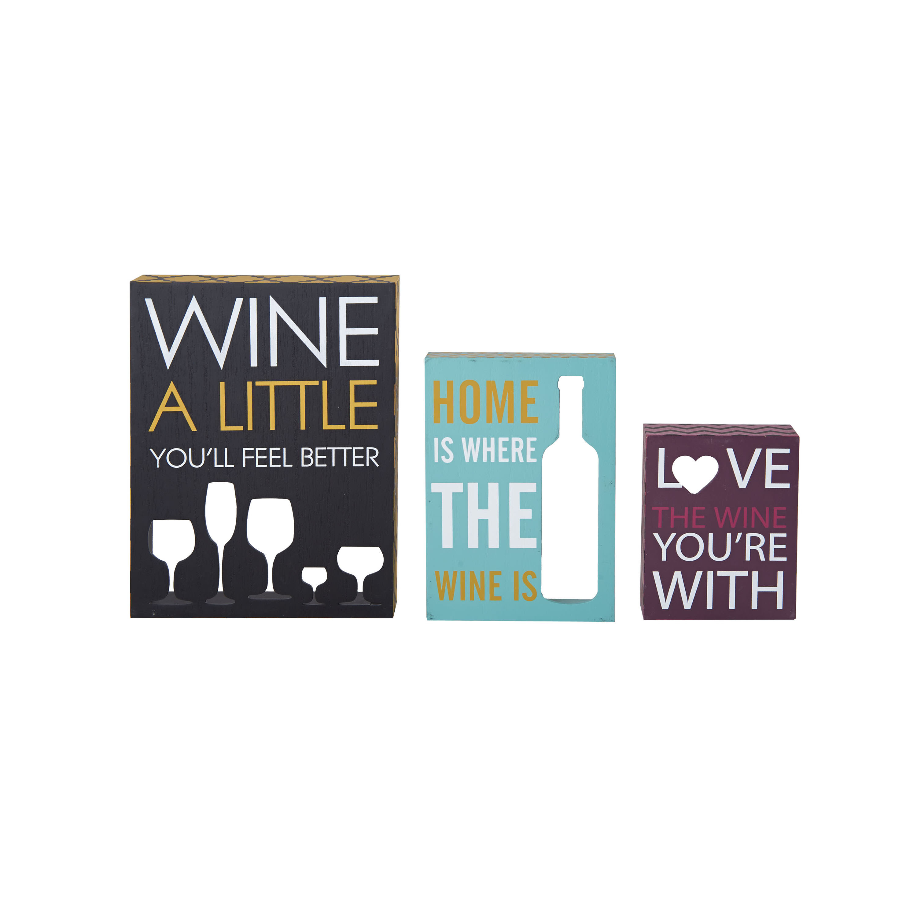 Elements 3 Vibrant Wine Cutout Box Signs in Assorted Sizes