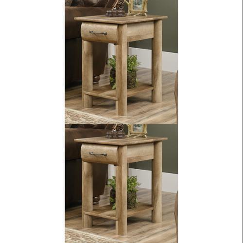 2) Sauder Furniture 416561 Boone Mountain Living Room Oak Log Cabin End Tables