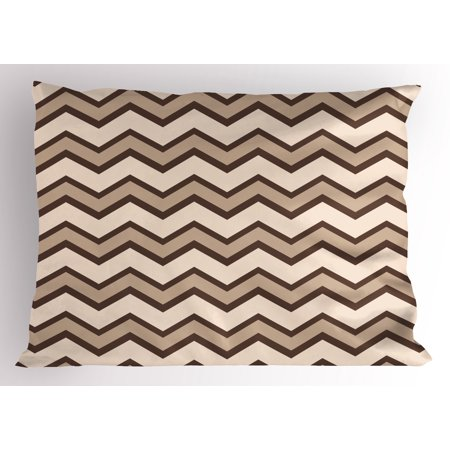 Tan Pillow Sham Classic and Fashionable Chevron Zigzag Pattern Waves Geometric Retro Style Tiling, Decorative Standard Queen Size Printed Pillowcase, 30 X 20 Inches, Brown and Tan, by Ambesonne