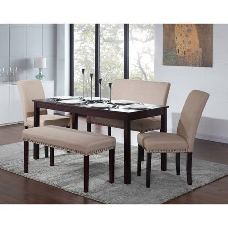 Nice 5 Piece Dining Set, Espresso with Bench, Banquette, and Chairs