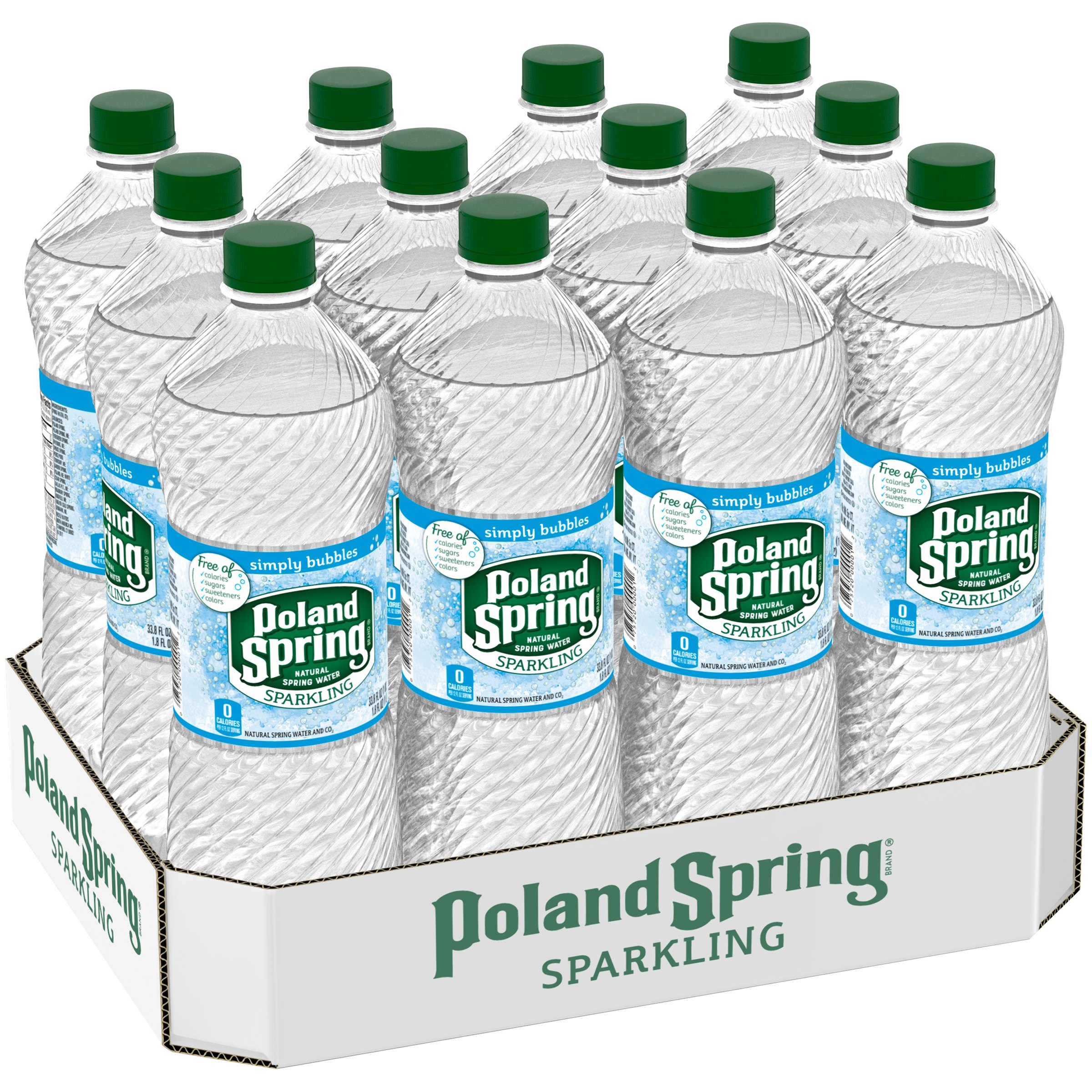 Poland Spring Simply Bubbles Sparkling Water, 33.8 Fl. Oz., 12 Count