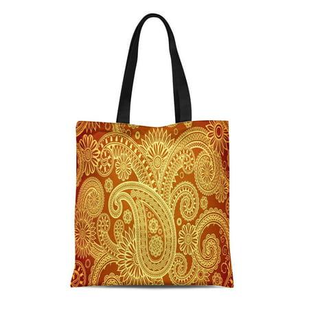 SIDONKU Canvas Tote Bag Green Vintage Gold and Maroon Paisley Pattern Reusable Handbag Shoulder Grocery Shopping