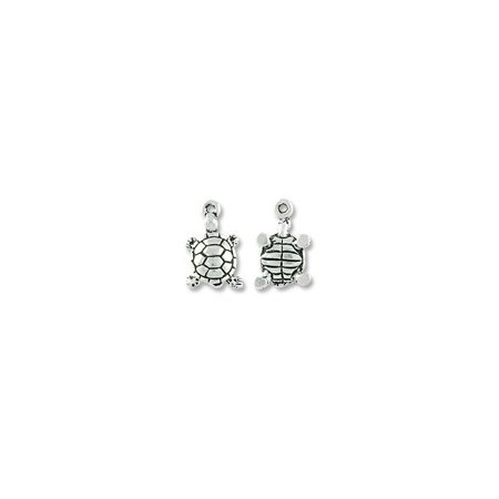 Charm for Jewelry Making - Turtle Drop 18x11mm Pewter Antique Silver Plated (1-Pc)