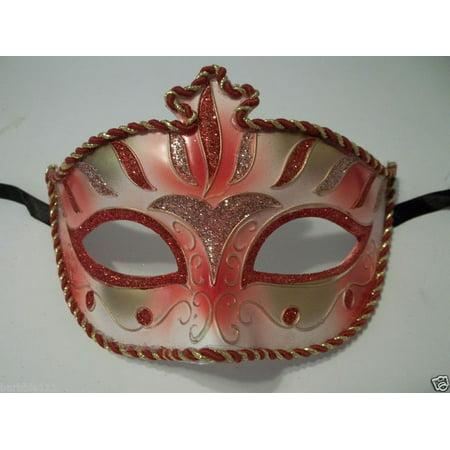 Red Pink Gold Stripe Venetian Mardi Gras Masquerade Mask Prom (Venetian Stripe)