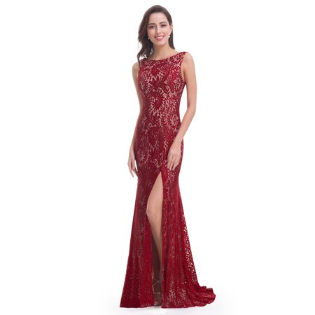 Ever Pretty Womens Y Open Back Lace Floor Length Fish Tail Evening Prom Ball Gown With High Formal Dresses For Women 08859 Burgundy Us