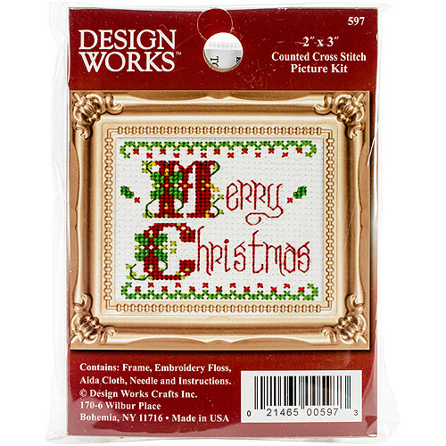 "Merry Christmas Ornament Counted Cross-Stich Kit, 2"" x 3"""