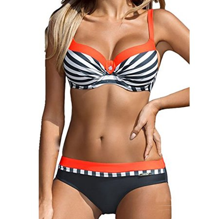 SAYFUT Classic Women's Stripe Bikini Set Push Up Padded Swimsuit Plus Size Two Piece Straps Bathing Suits Pink/Yellow/Red/Orange (Orange Bikini Swimsuit)