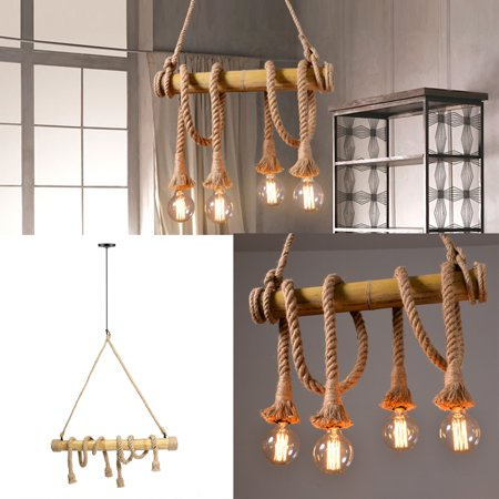4 Heads Industrial Reteo Hemp Rope Chandelier Pendant Light Bamboo Ceiling