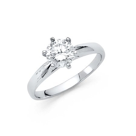 14K Solid White Gold Classic Traditional Round Brilliant Cut Solitaire Cubic Zirconia Engagement Ring , Size 9