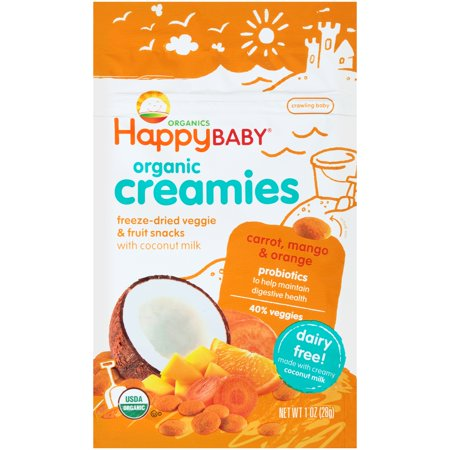 Happy Baby ® Organic Creamies Carrot, Mango & Orange Freeze-Dried Veggie & Fruit Snacks 1 oz. Package