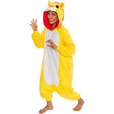 Adult Lion Onsie (SILVER LILLY Unisex Adult Plush Animal Halloween Costume Pajamas)