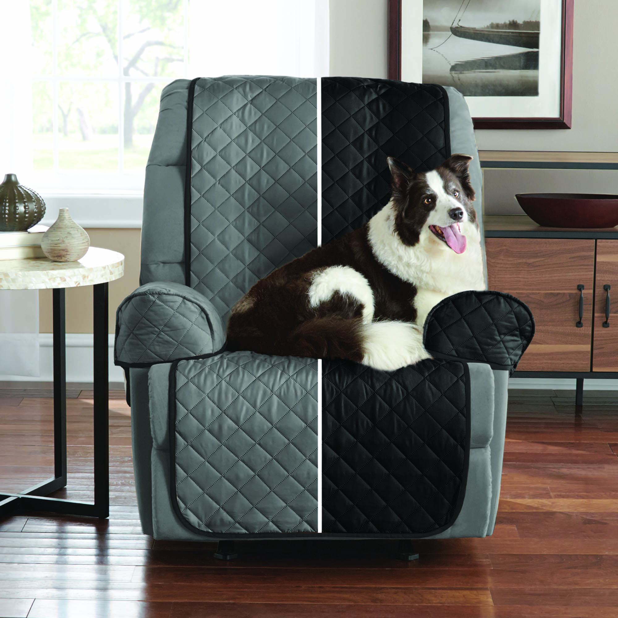 Mainstays Reversible Faux Suede To Microfiber 3 Piece Recliner Chair  Furniture Cover Protector, Black /