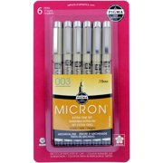 Pigma Micron Pens 003 .15mm 6/Pkg-Black