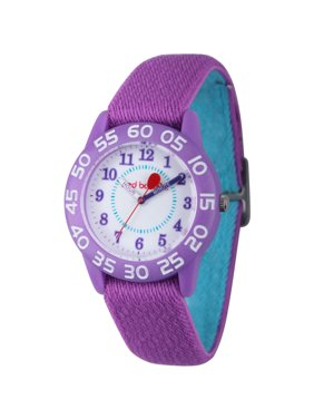 Girls' Purple Plastic Time Teacher Watch, Reversible Purple and Blue Elastic Nylon Strap