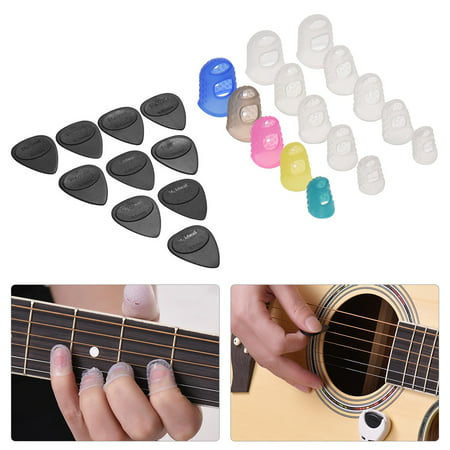 Guitar Accessories Kit Includes 15pcs Silicone Guitar Finger Protectors + 10pcs Guitar Picks for Acoustic Guitar