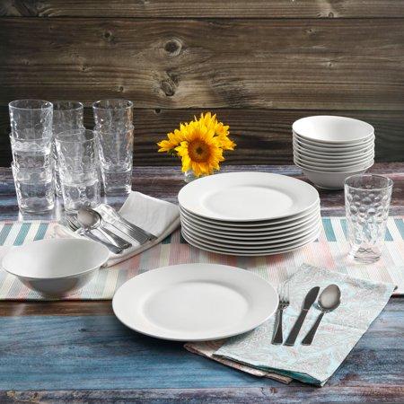 Gibson Home 48-Piece White Kitchen Basic Essentials Dinnerware - Snowflake Dinnerware Sets