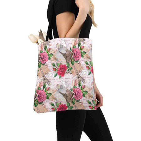 HATIART Vintage France Paris Eiffel Tower with Rose Flowers on Postal Stamps Canvas Tote Bags Reusable Shopping Bags Grocery Bags Washable Bags for Women Men Kids - image 2 de 3