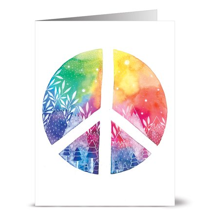 24 Note Cards - Rainbow Peace - Blank Cards - Lilac Purple Envelopes (Peace Note)
