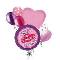 7 pc Happy Birthday Princess Balloon Bouquet Pearls Purple Party Decoration