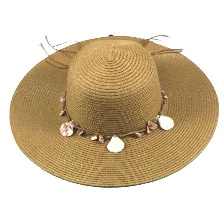 Shoe Shack - Wide Brim Large Floppy Summer Straw Sun Hat Headwear with  Shells - Walmart.com 7aa656e36f2