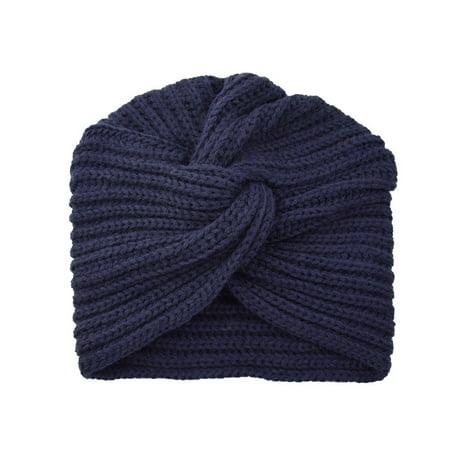 TOYFUNNY Autumn Winter Warm Knitting Cap Solid Center Cross Women Hair Scarfs Headband