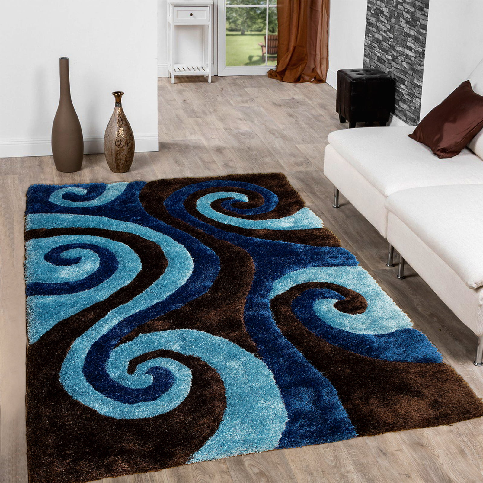 Allstar Brown Shaggy Area Rug with 3D Blue Spiral Design. Contemporary Formal Casual Hand Tufted (5' x 7') by Overstock