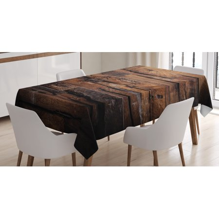 Chocolate Tablecloth, Rough Dark Timber Texture Image Rustic Country Theme Hardwood Carpentry, Rectangular Table Cover for Dining Room Kitchen, 52 X 70 Inches, Brown Dark Brown, by Ambesonne - Rustic Table Cloth