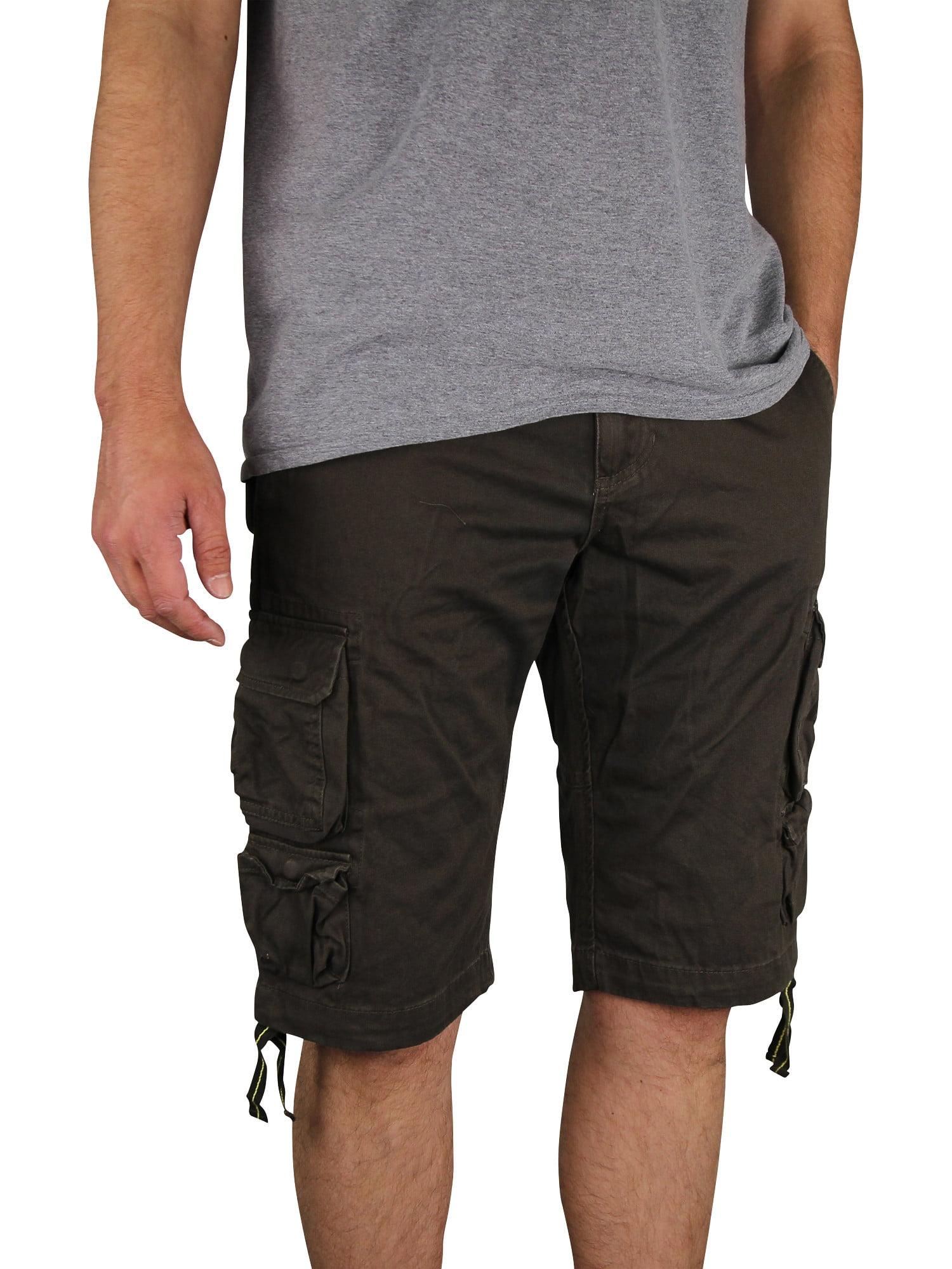 Men's Gray Earth Long Lightweight Cargo Shorts (Olive, 42)