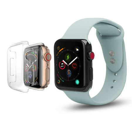 Band Mint - Apple Watch Replacement Bands 38mm w/Full Body Clear Hard Case Screen Protector, Soft Silicone Wristband for iWatch Apple Watch Series 1/2/3/Nike+ - Mint