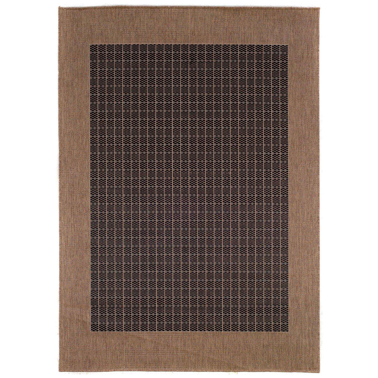 Couristan Recife Checkered Field Rug, Black/Cocoa