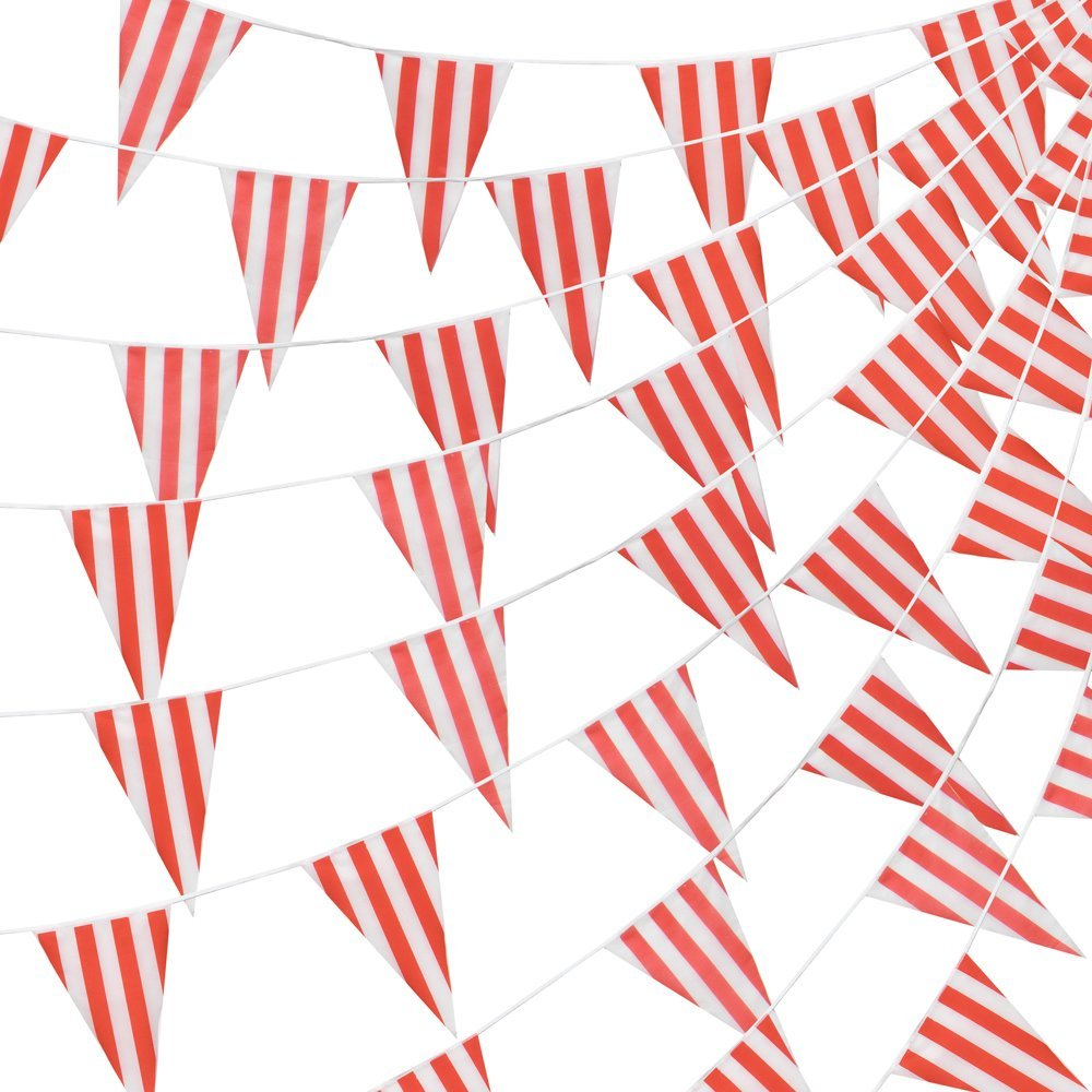 100 Foot Pennant Banner, 48 Red & White Striped Weatherproof Flags, Circus & Carnival - Versatile Party Décor by Pudgy Pedro's Party Supplies,.., By Pudgy Pedros Party Supplies