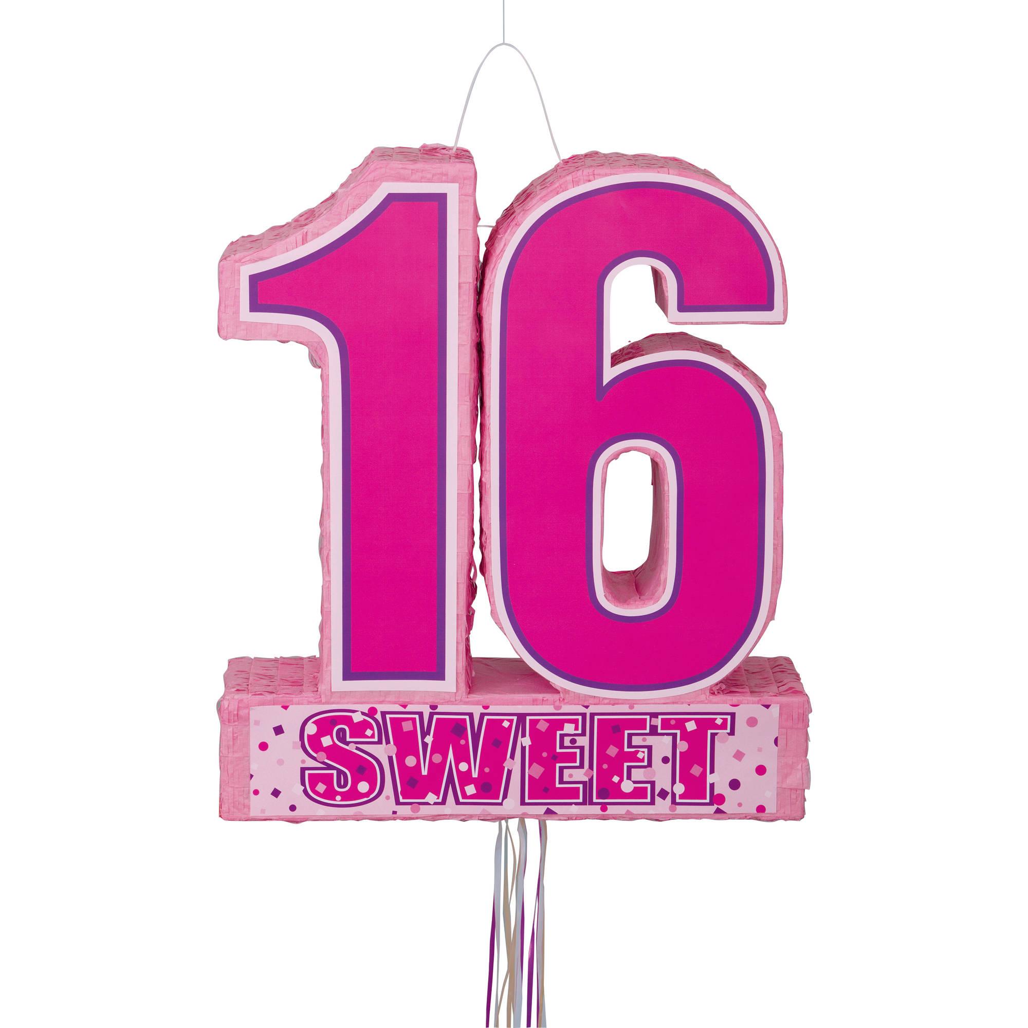 Sweet 16 Birthday Pinata, Pull String