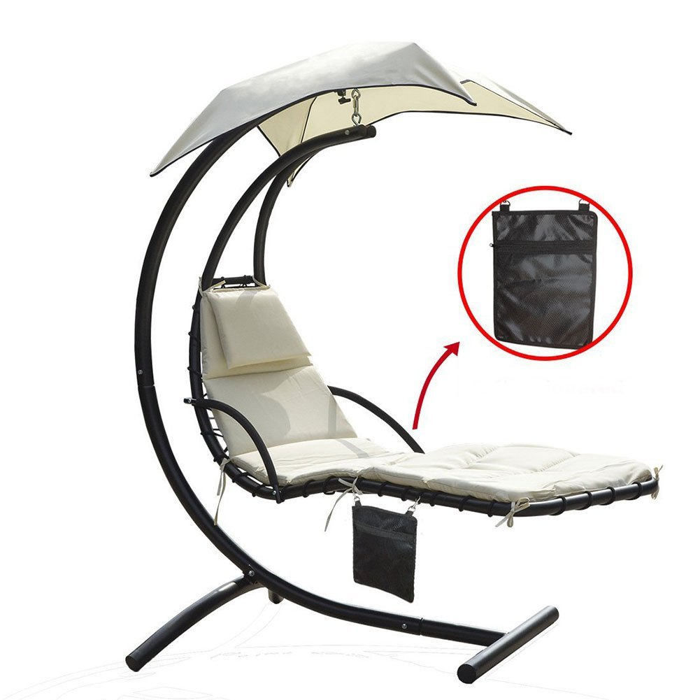 Hanging Chaise Lounger Chair with Umbrella Air Porch