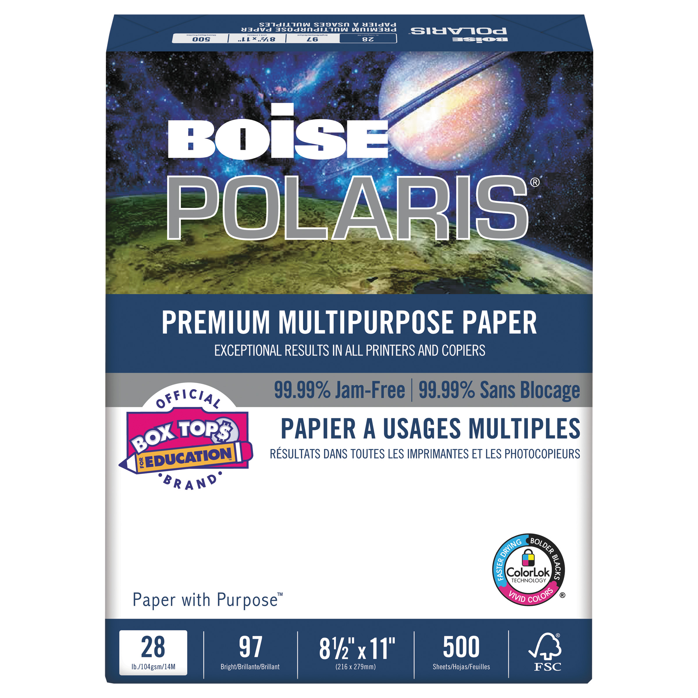 "Boise POLARIS 28-lb Premium Multipurpose Paper, 8-1/2"" x 11"", White, 3000 Sheets"